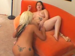 Chunky Lesbian Fucking Blonde Toy-Slut