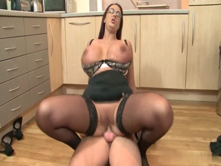 Man Fucks On The Kitchen Floor Lady With Huge Natural Tits