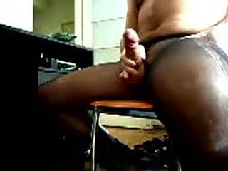 Pantyhose lover wanks
