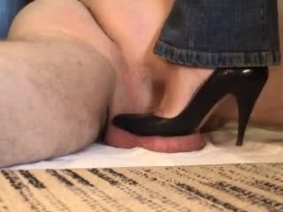 Testicles Crushed Under Black High Heels