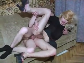 Horny Crossdresser Slut Gets Anal Fuck On The Sofa