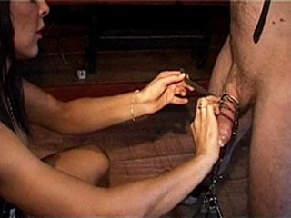 See Sexy Mistress Give Pleasure And Pain To Her Servant