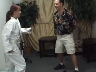 Ballbusting Guy In Karate Uniform