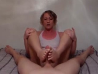 Provoking Wife Delivers A Wonderful Footjob In POV