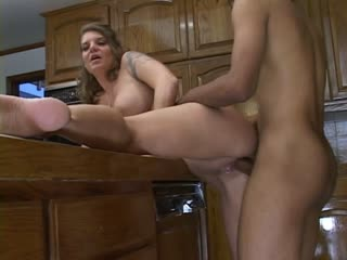 Horny housewife riding a black pole