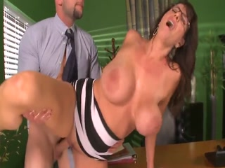 Naughty Cougar With Glasses  Gets Pounded Deep And Sprayed With Cum