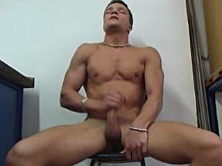 Horny stud jerking off