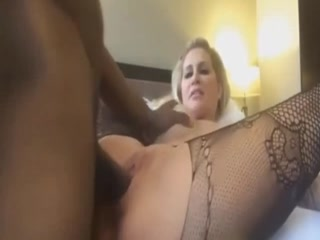 Pantyhosed Blonde MILF With Perfect Tits And Ass Loves Black Cock