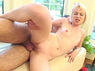 Tiny blonde takes a big cock