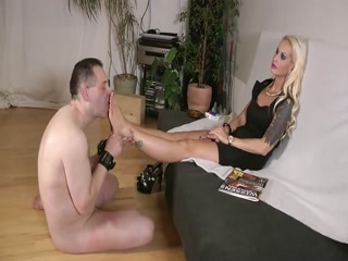 Platinum Blonde Tattooed Mistress In Black Dress Gets Her Feet Worshipped