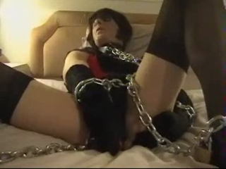 Slave Susan Chained And Sucking Vibrator