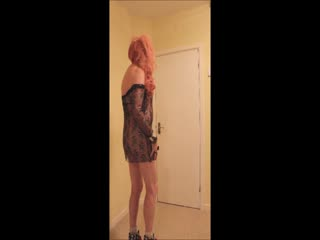 Pink Haired Slut In Black Sparkle Dress