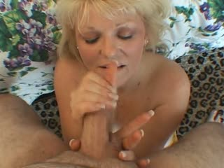 Sexy Blonde Mature Stroking A Cock