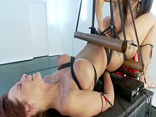 D-Cup MILF Squirts While Electrofucked In Copper Pipe Bondage!