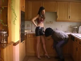Hot Chick Kicks Balls Hard At Kitchen